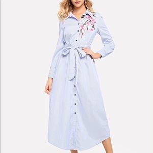 Floral Embroidered Curved Hem Shirt Dress